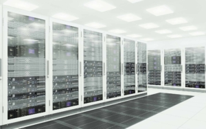 Large server room with tall white servers