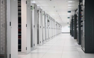 Large white server room with white servers