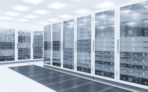 Large white clean cloud server room