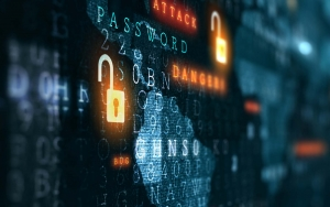 View of binary code with cyber security